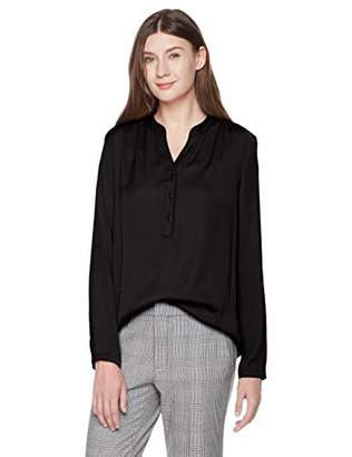 A.Dasher Women Chiffon Blouse Shirt with V-Neck Long Sleeve and Button Down