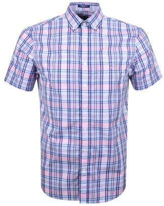 Gant Short Sleeved Broadcloth Check Shirt Pink