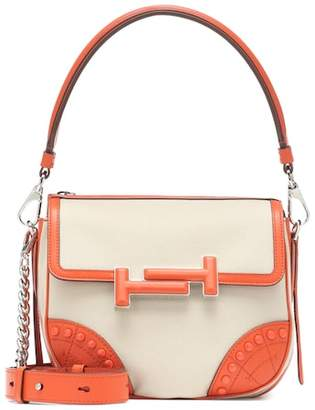 Tod's Double T leather-trimmed shoulder bag