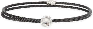 Alor Black Cable Single-Wrap Bangle Bracelet with White Topaz