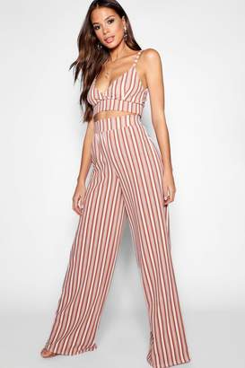 boohoo Tall Stripe Bralet And Trouser Co-Ord
