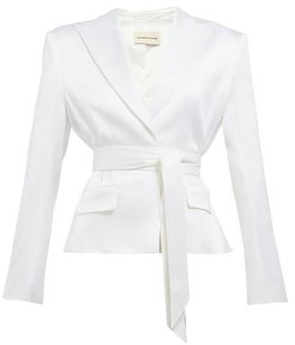 0c58ade74510 Alexandre Vauthier Single Breasted Wrap Belt Satin Blazer - Womens - White