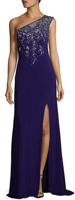 La Femme Women's Embellished One Shoulder Floor-Length Gown