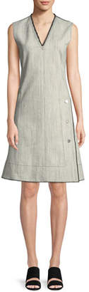 Derek Lam Sleeveless V-Neck A-Line Stretch-Denim w/ Side Buttons