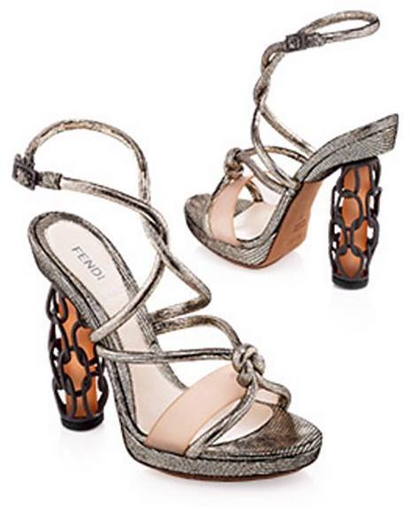 Fendi Runway Metallic Cage Heel