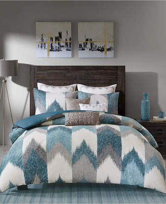 Ink+ivy Closeout! Ink+Ivy Alpine Cotton Reversible Full/Queen Chevron Stripe Print Duvet Mini Set Bedding