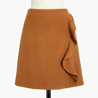 J.Crew Factory Ruffle-front mini skirt in double-serge wool