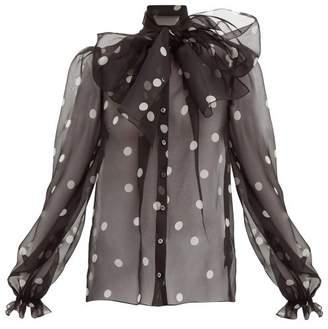 Dolce & Gabbana Polka Dot Print Pussy Bow Organza Blouse - Womens - Black White