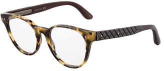 Bottega Veneta Plastic Round Havana Optical Glasses