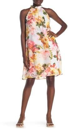 SL Fashions Floral Halter Neck Shift Dress