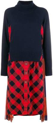Sacai layered plaid sweater dress