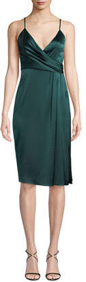 Jill Stuart Satin Draped Sleeveless Wrap Dress