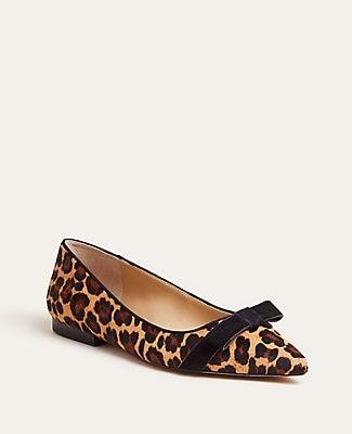 Ann Taylor Patricia Cheetah Print Haircalf Bow Flats