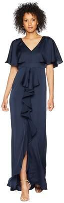 Adrianna Papell Stretch Satin Chiffon Flutter Sleeve Gown Women's Dress