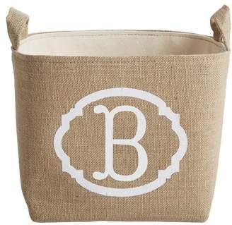 asouthernbucket White Monogram Burlap Storage Bin Letter: B