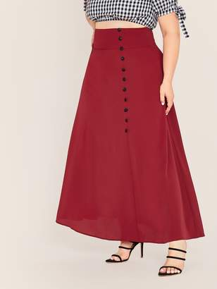 Shein Plus Wide Band Waist Button Front Skirt