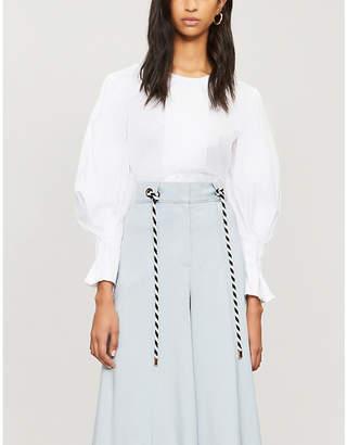 Peter Pilotto Pleated-panel cotton blouse