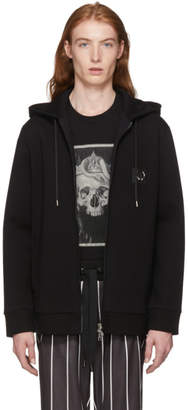 Neil Barrett Black Pierced Zip-Up Hoodie