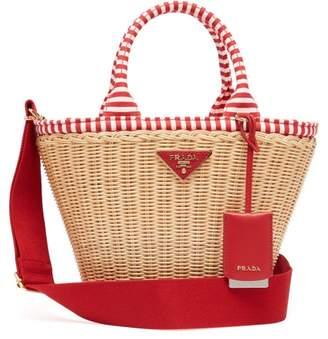 Prada Wicker And Canvas Basket Bag - Womens - Red Multi