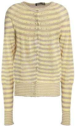 Piazza Sempione Striped Linen And Cotton-blend Cardigan