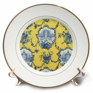 3dRose Garden French Toile. Yellow and blue. Popular toile print. - Porcelain Plate, 8-inch