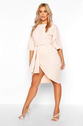 boohoo Plus Kimono Sleeve Wrap Over Dress