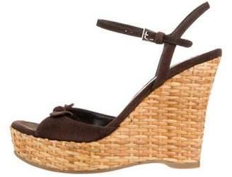 Prada Suede Wedge Sandals Brown Suede Wedge Sandals