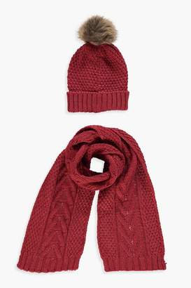 boohoo Cable Knit Hat & Scarf Set
