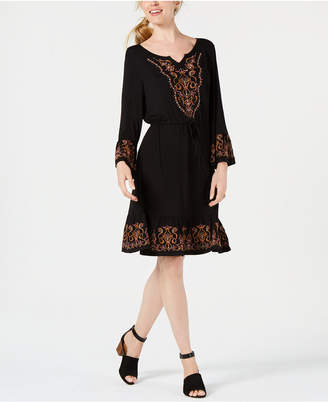 Style&Co. Style & Co Embroidered Lantern-Sleeve Dress, Created for Macy's