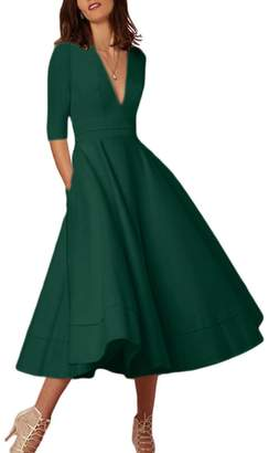 YMING Women's Elegant Deep V-Neck 1/2 Sleeve Prom Party Swing Dresses S