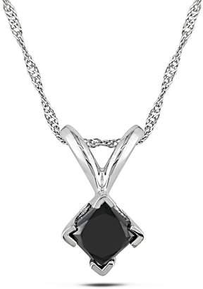 Concerto .5 CT Black Princess Diamond TW Solitaire Pendant With 14k White Gold Chain