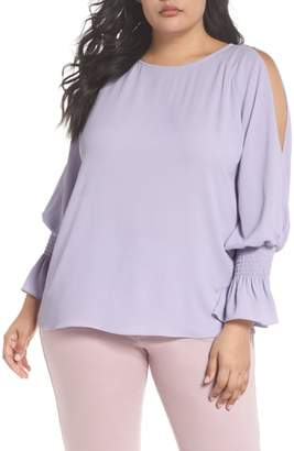 Vince Camuto Cold Shoulder Flare Cuff Top
