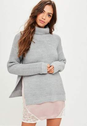 Missguided Grey Roll Neck Step Hem Knitted Jumper, Grey