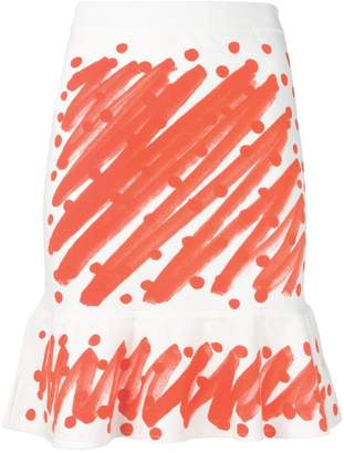 Moschino brushstroke print peplum skirt