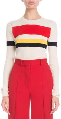 Victoria Beckham Crewneck Long-Sleeve Multi-Striped Sweater