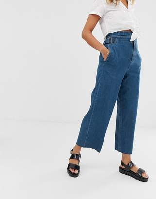Asos Design DESIGN cropped lightweight wide leg jeans in mid wash blue with paper bag waist detail
