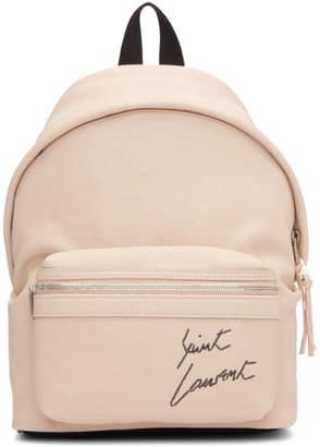 Saint Laurent Pink Mini Leather City Backpack