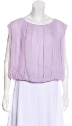 Alice + Olivia Pleated Silk Blouse
