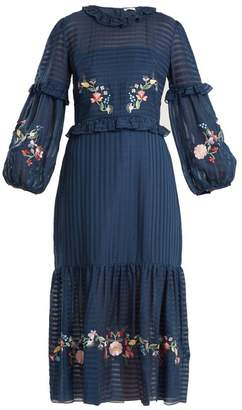 Vilshenko Adeline Floral Embroidered Dress - Womens - Navy Multi