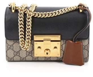 Gucci Padlock Shoulder Bag GG Monogram Push Lock Closure Open Small Brown/Black