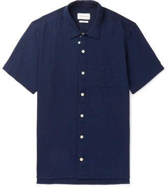 Oliver Spencer Indigo-Dyed Textured-Cotton Shirt