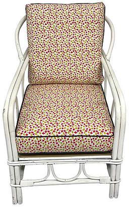 One Kings Lane Vintage White Rattan Armchair - Madcap Cottage