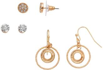 3-pair Circle Crystal Earring Set
