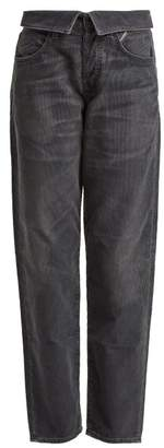 Atelier Jean Flip Fold Over Corduroy Jeans - Womens - Dark Grey