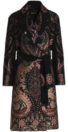 Double-Breasted Belted Chenille-Jacquard Coat