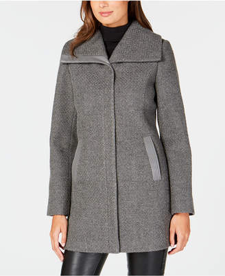 INC International Concepts I.n.c. Textured Faux-Leather-Trim Coat, Created for Macy's