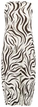 Pleats Please Issey Miyake Aroma Zebra Print Pleated Dress - Womens - White Black