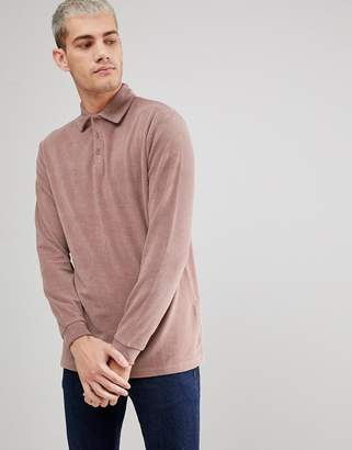 Asos Longline Long Sleeve Polo Shirt In Towelling Fabric
