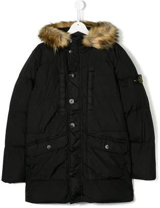 Stone Island Junior TEEN fur-trimmed hood coat