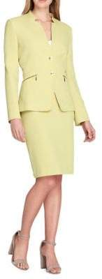 Tahari Arthur S. Levine Two-Button Star Neck Skirt Suit